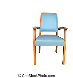Blue chair isolated on white and copyspace