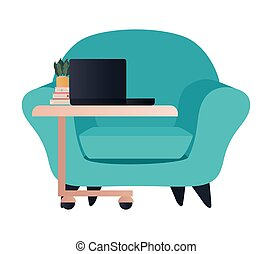 blue chair with laptop on table vector design