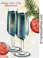 Blue champagne glasses New Year card. Happy holidays Vector