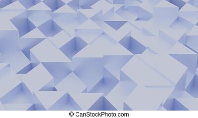 Blue Chaotic Cubes Wall Background. 3d Render Illustration