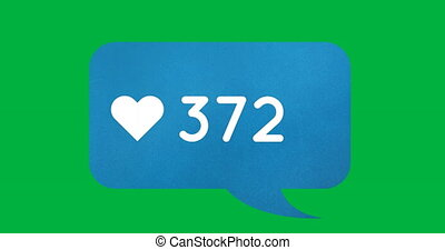 Blue chat box with numbers 4k