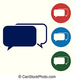 Blue Chat icon isolated on white background. Speech bubbles symbol. Set color icon in circle buttons. Vector Illustration