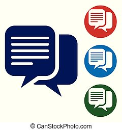 Blue Chat icon isolated on white background. Speech bubbles symbol. Vector Illustration