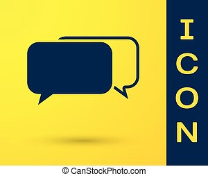 Blue Chat icon isolated on yellow background. Speech bubbles symbol. Vector Illustration