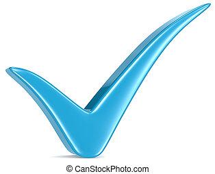 Blue Check Mark. - Blue Check Mark, white background.