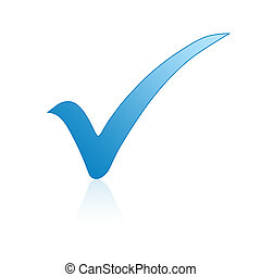 Blue check mark icon isolated on white