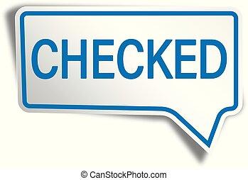 blue checked modern speech bubble tag web icon