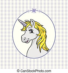 Blue checkered background with a happy unicorn in frame