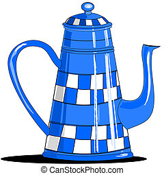 Illustration of an old blue coffee pot that has a hand painted blue and white checkered pattern.