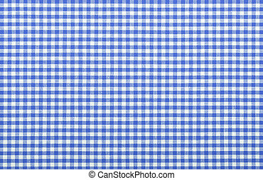 blue checkered fabric closeup , tablecloth texture