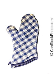 oven mitt - blue checkered oven mitt isolated on white