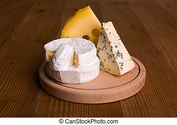 Blue cheese, camembert and emmental cheese