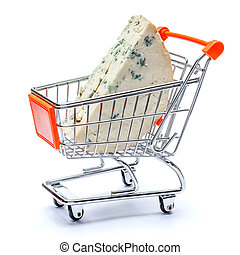 blue cheese in shopping cart on a white background