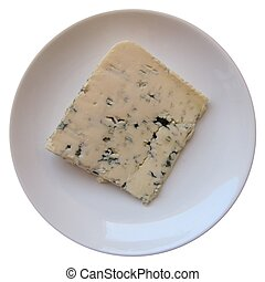 Blue cheese on plate - Blue cheese, bleu d'auvergne or ...