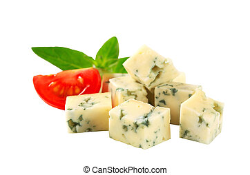 Blue cheese - Diced blue cheese isolated on white
