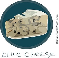 Blue cheese vector illustration on white background