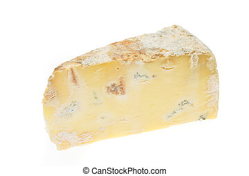 Blue cheese - Wedge of creamy blue cheese isolated on white