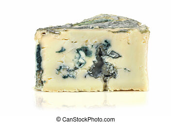 Blue Cheese - Wedge of soft blue cheese, isolated on white...
