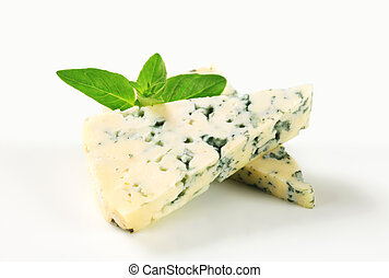Blue cheese - Wedges of blue cheese - studio shot