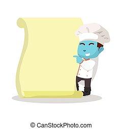 blue chef boy with menu