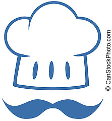 Blue Chef Hat With A Mustache Logo
