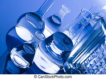 Blue chemistry vials - A laboratory is a place where ...