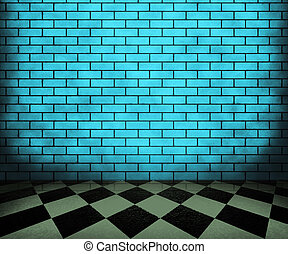 Blue Chessboard interior Background