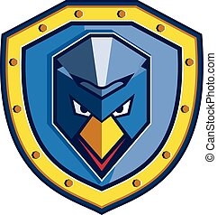 Blue Chicken Mohawk Shield Icon - Icon style illustration of...