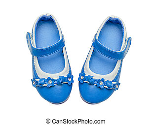 Blue child shoes isolated over white background