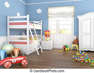 Children's room in blue walls with bunkbed and lots of toys on the floor
