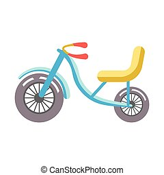Blue children bicycle with yellow seat isolated on white.