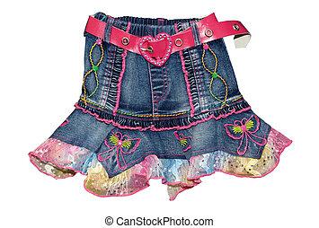Blue children girl mini skirt isolated