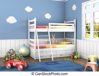Children´s room in blue walls with litter and lots of toys on the floor