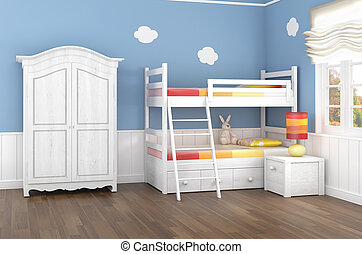 Children's bedroom in blue walls with bunk bed and wardrobe