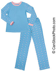 Blue children's pajamas. Isolated on white
