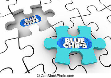 Blue Chips Top Goals Priorities Final Puzzle Piece Complete 3d Illustration