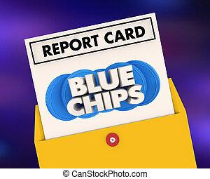 Blue Chips Top Goals Priorities Report Card Grade Score 3d Illustration