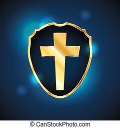 Blue Christian Cross Shield Illustration