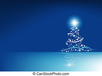 Blue Christmas Abstraction - Colored Abstract Illustration,...