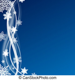 abstract blue and white christmas background with snow flakes