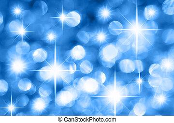 Blue Christmas background - Blue holiday illumination out of...