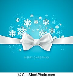 Blue Christmas background ribbon with white silk bow