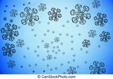Blue Christmas background, snowflakes on blue watercolor paper