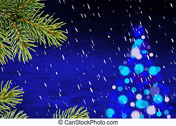 blue christmas background with a christmas tree and snowfall