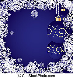 Blue christmas background with baubles and snowflakes, vector illustration