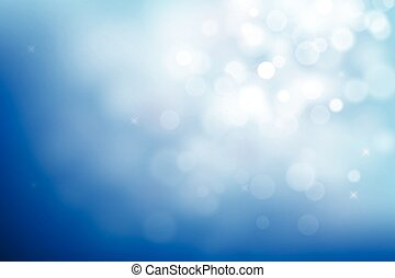 Blue christmas background with bokeh lights