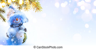 Blue Christmas background with Christmas tree, holidays decoration and copy space for your text