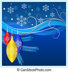Blue Christmas background with decorations and snowflakes.