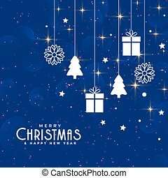 blue christmas background with decorative elements