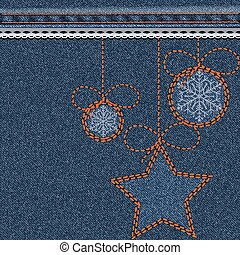 Blue Christmas background with denim texture, embroidery and...